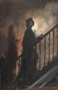 Mère qui monte les escaliers pour le baiser 2