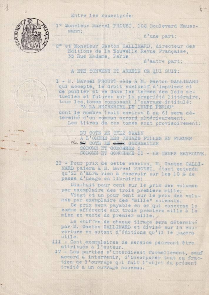 contrat Proust-Gallimard