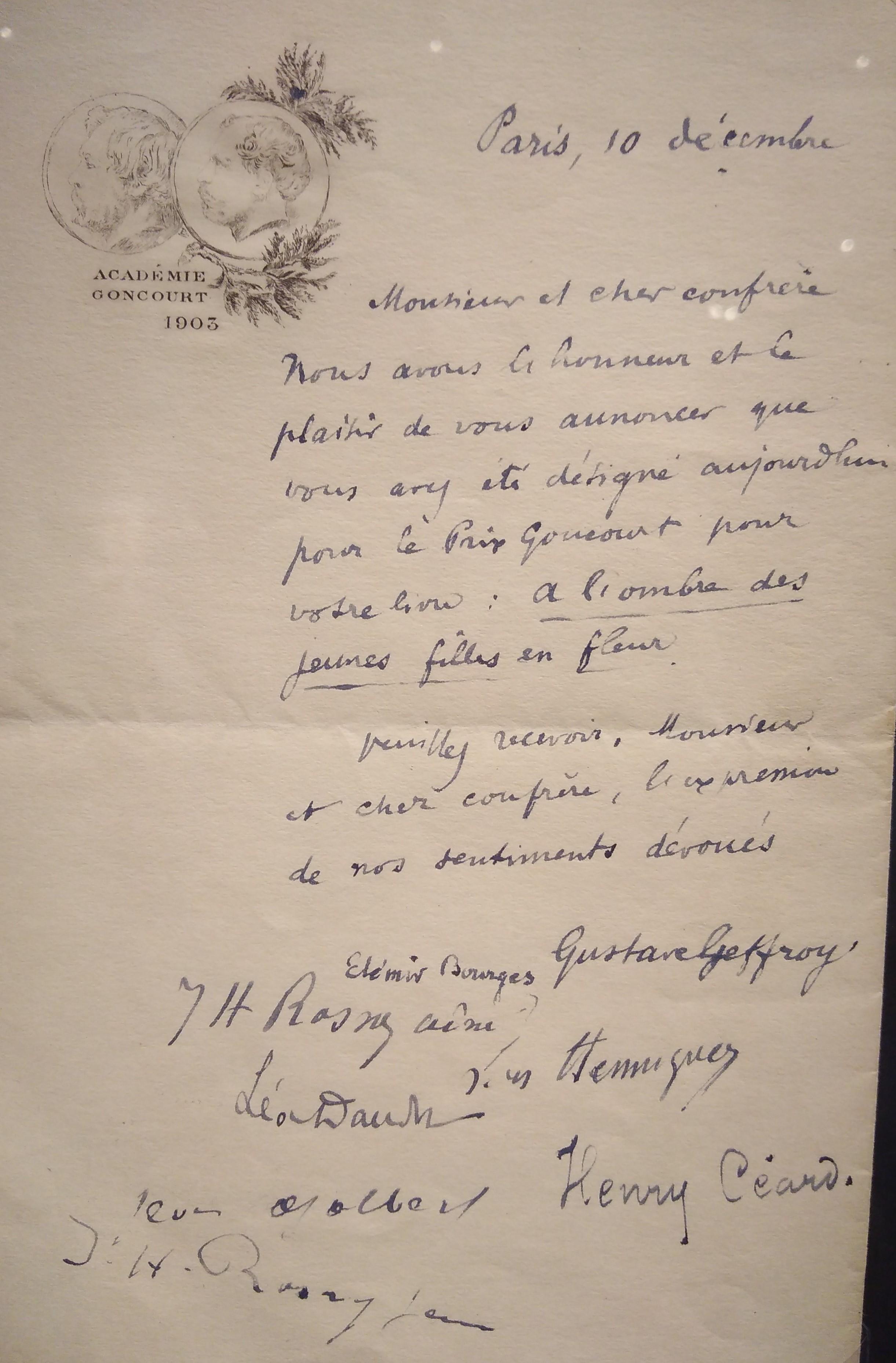 lettre Goncourt à Proust4