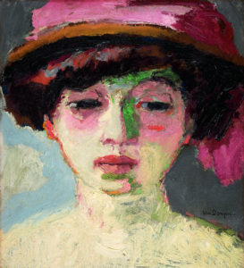 dame au chapeau rose